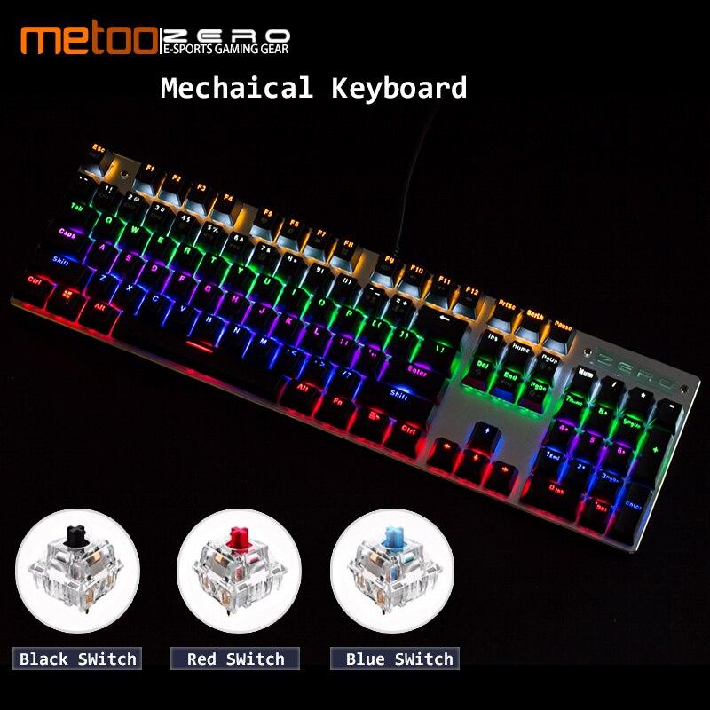 Lindo juego de teclado mecánico LED retroiluminado 87/104 llaves azul/interruptor rojo Anti-ghosting Cable de teclado ruso/Inglés para los jugadores