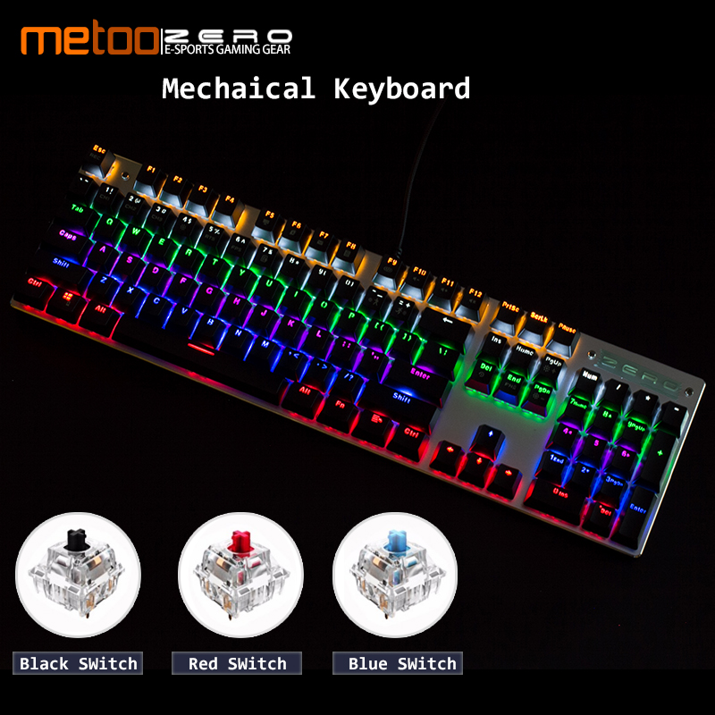 все цены на Metoo Genuine LED Backlit Gaming Mechanical Keyboard 87/104 keys Blue/Black Switch Metal Anti-ghosting Keyboard Russian/English онлайн