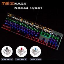 Оригинальный Metoo игровая механическая клавиатура Anti-ghosting светодиодный подсветкой 87/104 ключей USB Проводная клавиатура на русском/английскую клавиатуру для геймеров на ПК