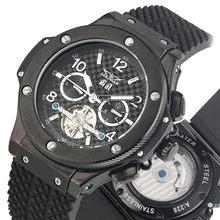 2019 Mechanical Watch Silicone Strap Black Dial Tourbillon Automatic Watches Calendar Stainless Steel Clock Male zegarek все цены