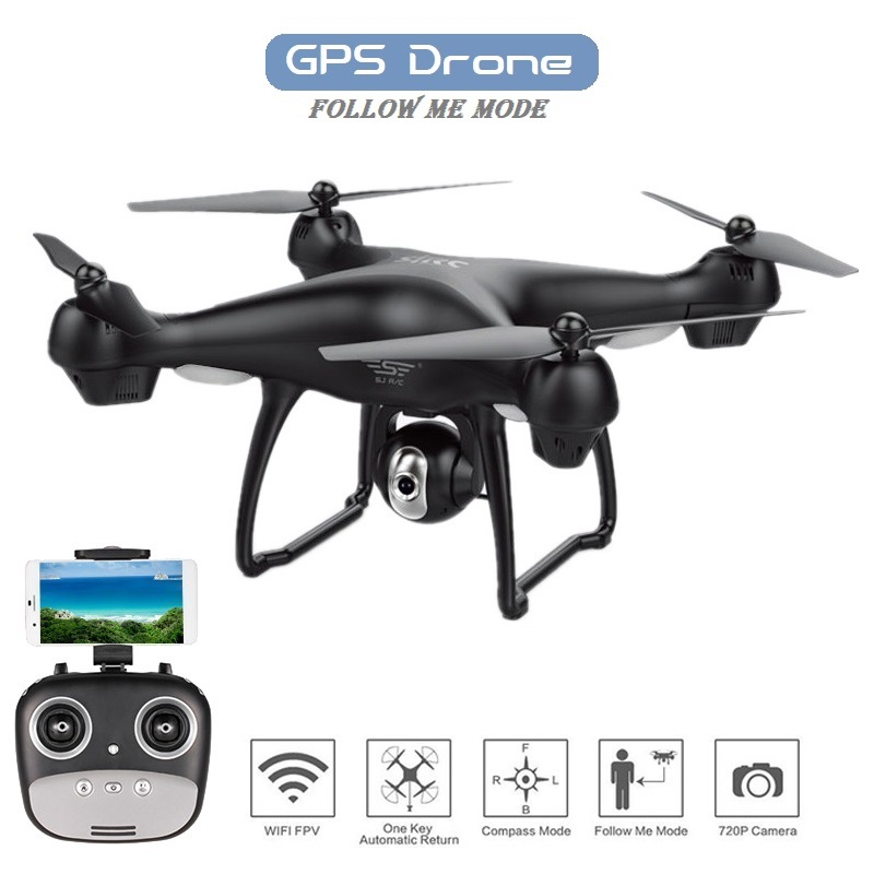 S70W GPS FPV RC Drone with 1080P HD Adjustable Wide-Angle Camera WiFi Live Video Follow Me GPS Return Home RC Quadcopter DronS70W GPS FPV RC Drone with 1080P HD Adjustable Wide-Angle Camera WiFi Live Video Follow Me GPS Return Home RC Quadcopter Dron