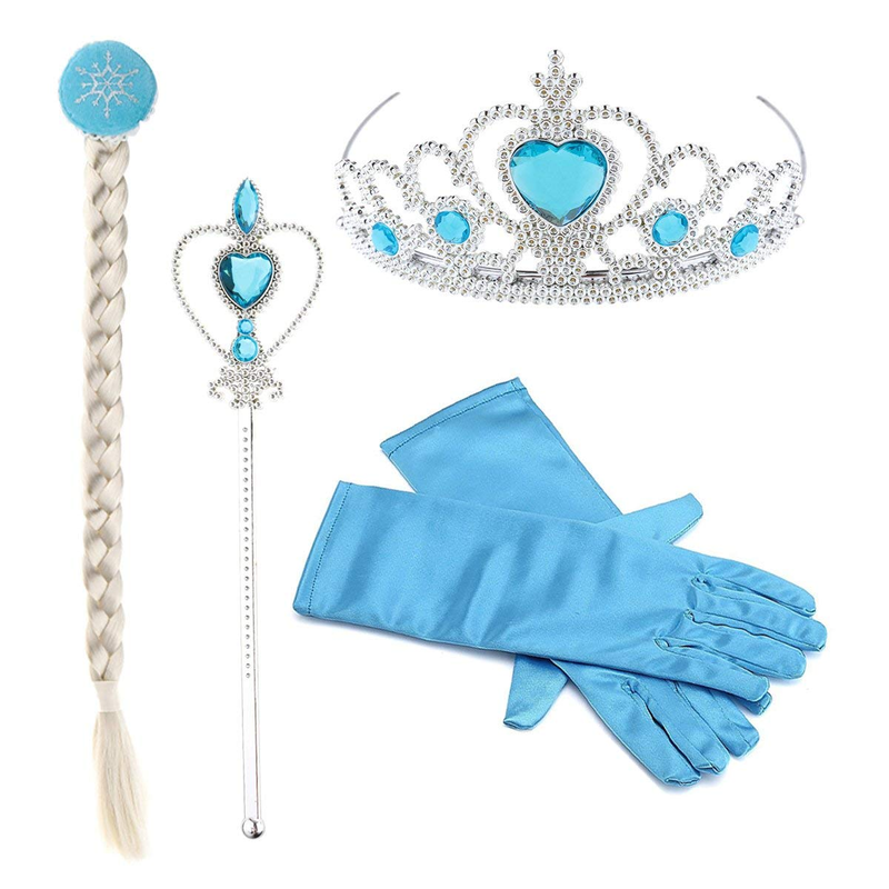Disney Frozen Princess Little Girls Kids Frozen Elsa Dress Up Accessories Crown Braid Wand Blue Gloves Set