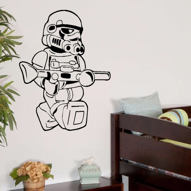 LARGE STAR WARS LEGO MEN STORM TROOPER FOR CHILDREN KIDS BEDROOM WALL ART  STICKER VINYL SELF