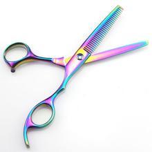 Professional Japan 440c 6 & 5.5 inch rainbow cut hair scissors set cutting shears thinning barber scissor hairdressing scissors