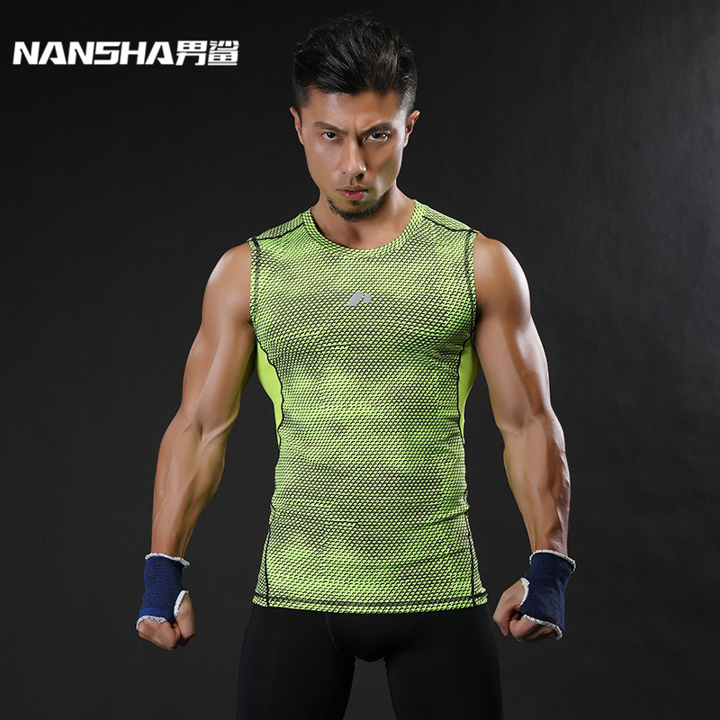 نانشا ماركة تنفس سريعة جاف الرجال الرياضية سترة الملابس ضغط تانك القمم تجريب ضيقة ملابس رياضية
