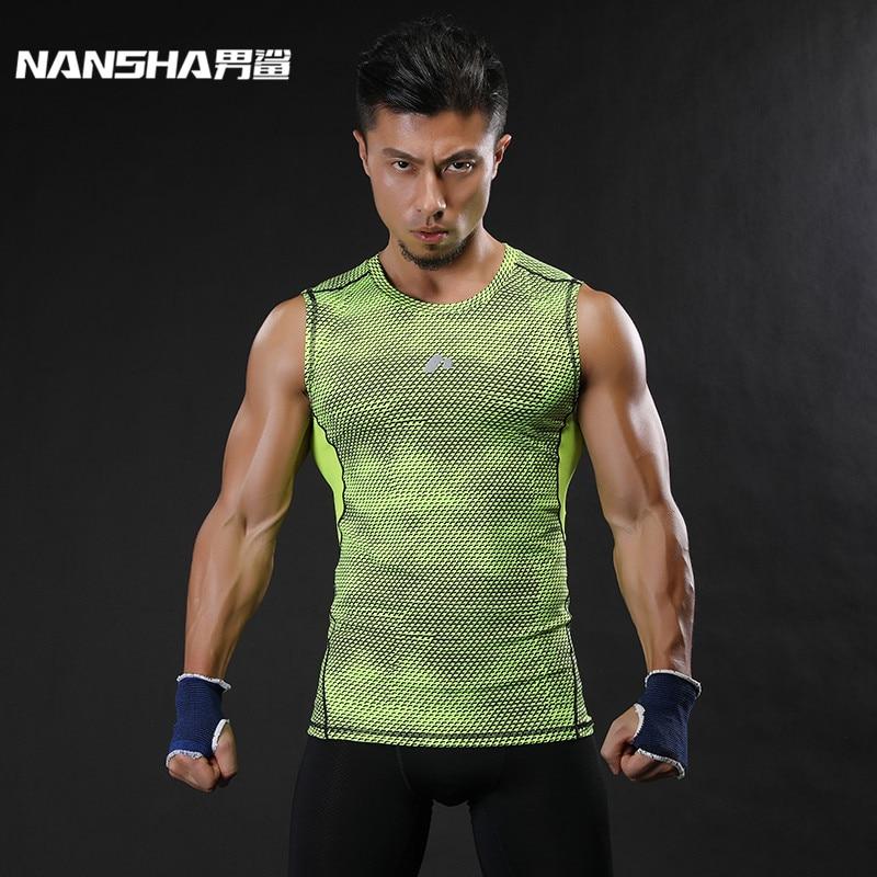 NANSHA מותג Breathable מהיר יבש גברים ספורט Vest הלבשה דחיסה טנק חולצות אימון צמודה בגדי ספורט Sportwear