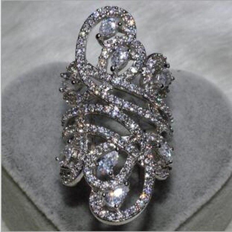 Choucong Wieck Femmes Mode Bijoux 925 Sterling Argent Simulé pierres CZ De Mariage Engagement Fleur Doigt Bague SZ5-11