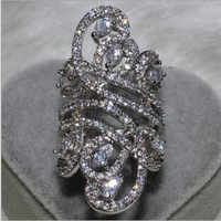 Choucong wieck moda feminina jóias 925 prata esterlina simulado pedras cz casamento noivado flor dedo anel banda SZ5-11