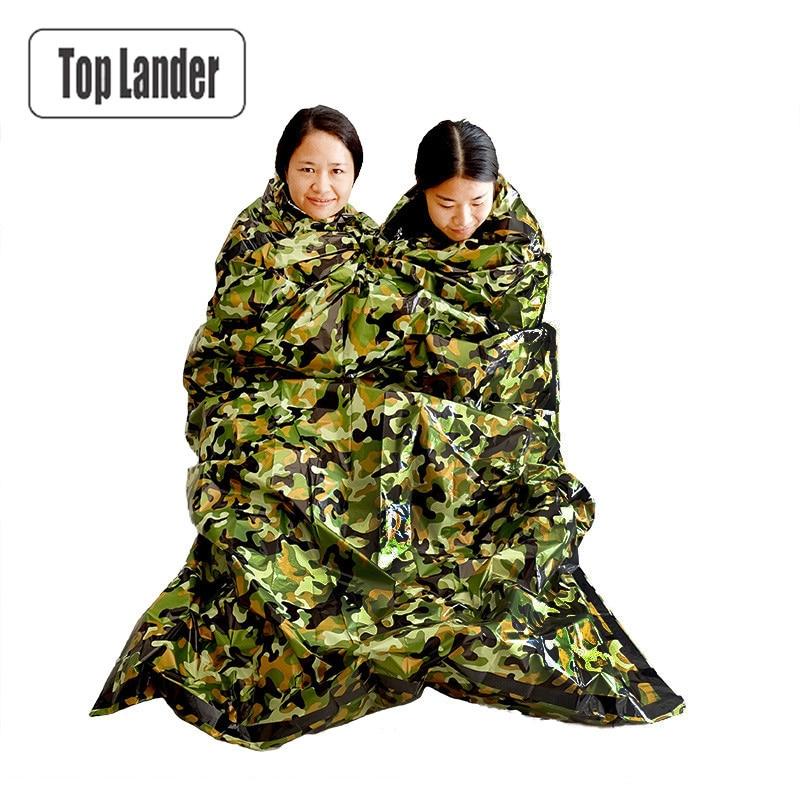 Camouflage Survie D'urgence Sac de Couchage Thermique Garder Au Chaud Imperméable À L'eau Mylar Double Première Aide D'urgence Couverture Camping En Plein Air