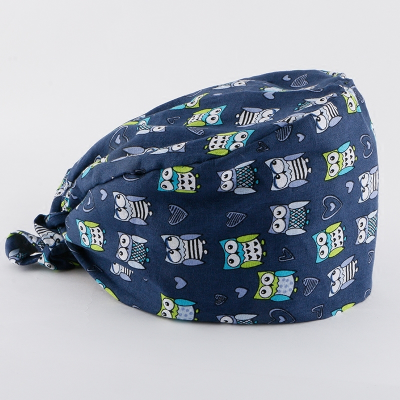 Hospital Dark Blue Owl Printing Cotton Medical Cap Dental Clinic Surgical Cap For Men And Women Medical Accessories