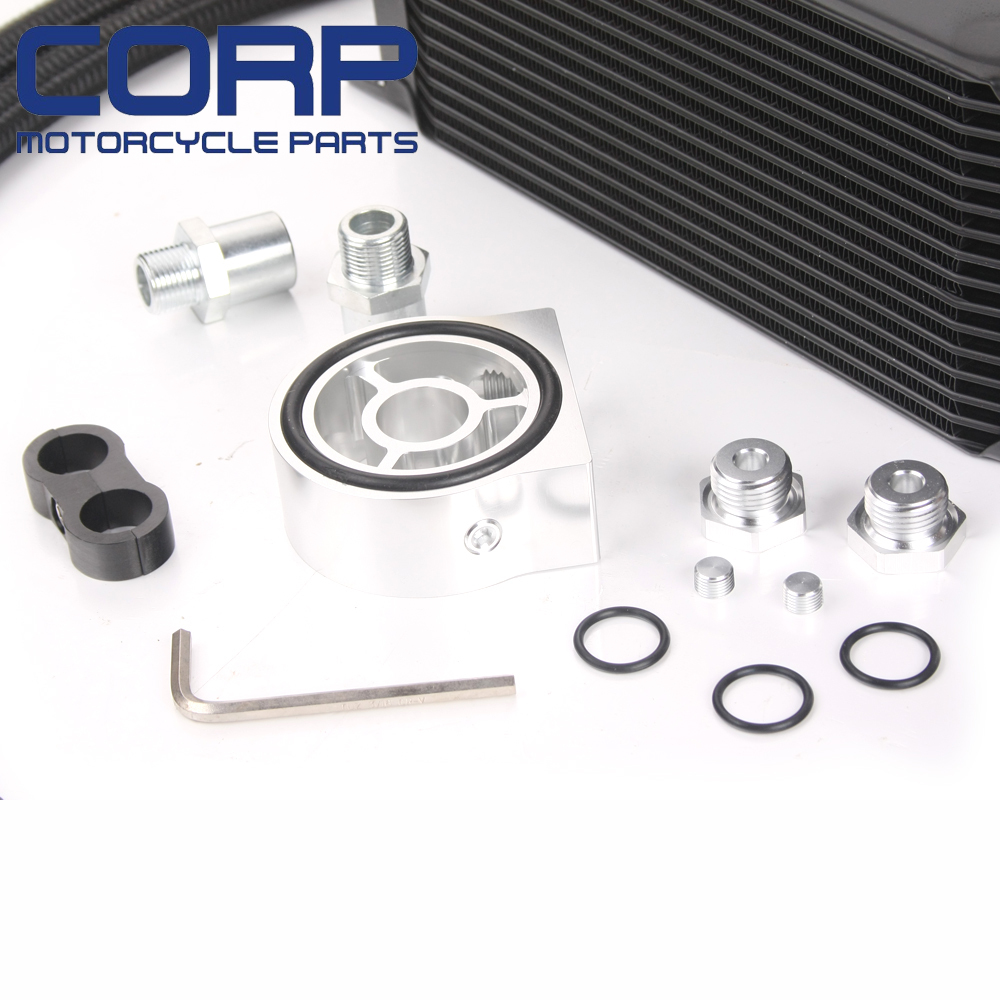 Universal 16 Row JDM Engine Oil Cooler Kit + Sandwich Plate + AN10 Oil Lines Kit Silver 0005VSL