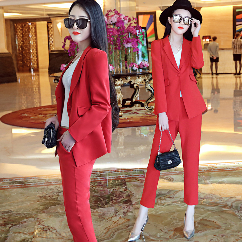 Red Business Women Pencil Pant Suits 2 Piece/Sets Black Solid Blazer + Pencil Pant Office Lady Notched Jacket Female Outfits