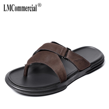 Summer personality Genuine Leather flip-flops Men Soft-soled Beach Shoes fender summer men genuine leather slippers male cowhide