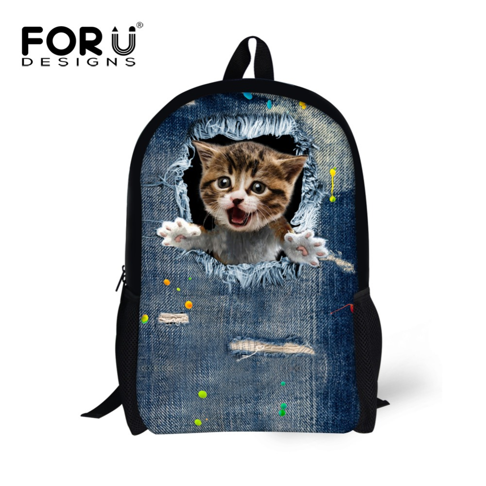 fa56fa4f9b86 Unique 16inch Kids Backpack Cute Animal Denim Cat Printing Backpack for School  Children High Student Boys School Book Bags-in School Bags from Luggage ...