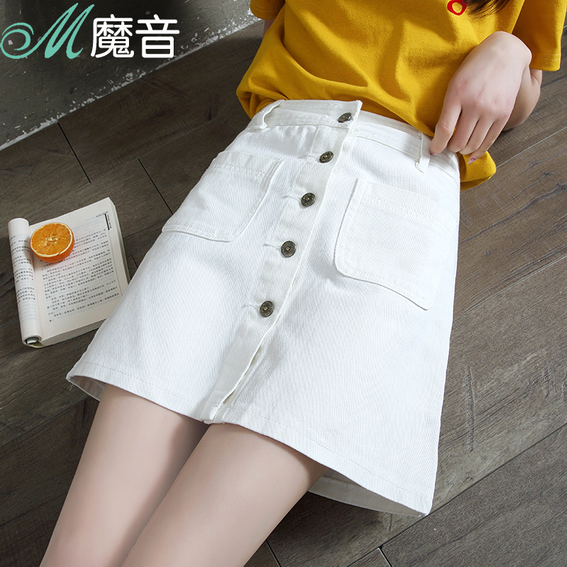 XXL Denim Skirt High Waist A-line Mini Skirts Women Summer New Arrivals Single Button Pockets Blue Jean Skirt Style Saia Jeans