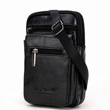 купить YIANG Vintage Genuine Leather Shoulder Bags for Men Mini Cross Body Travel Bags Fashion Retro Single Strap Phone Pouch Business по цене 2537.55 рублей