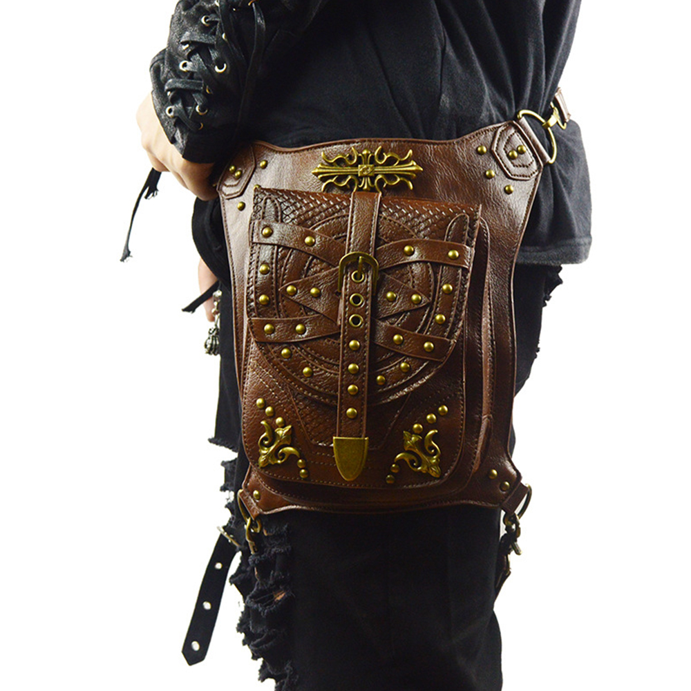 Motorcycle Bag Brown PU Leather Fashion Mochila Moto Motocross Leg Bag Handbag Multi-function Travel Bolsa Moto Leather Wallet pu leather metal multi zips handbag