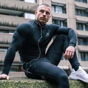 Image 3 - Rajstopy uciskowe męskie długie spodnie spodnie biegaczy spodnie legginsy biegaczy Slim Fit Hombre Skinny Fitness siłownie spodnie treningowe