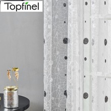 Topfinel Bird Nest Sheer Curtains Dots Embroidered Curtain for Kitchen Living Room Bedroom Tulle for Windows Treatment Panel cheap Hospital Cafe Home Hotel Polyester Cotton Left and Right Biparting Open Woven Translucidus (Shading Rate 1 -40 ) Buckle Tube Curtain