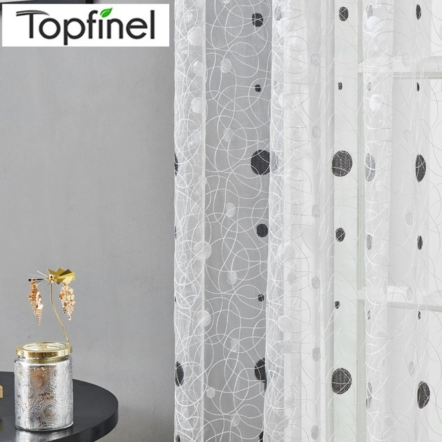 Topfinel Bird Nest Sheer Curtains Dots Embroidered Curtain for Kitchen Living Room Bedroom Tulle for Windows Treatment Panel