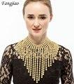 Мода 2017 новый модный позолоченные большой длинный кисточкой кулон биб себе choker воротник коренастый ожерелье для женщин партии ювелирных изделий
