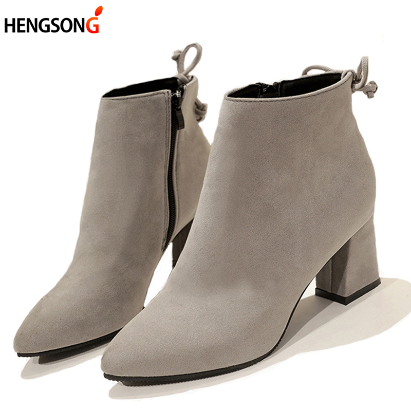 2017 Hot Autumn Fashion Women Martin Boots Zip Casual Flock Boots Pointed Toe High Square Heel Warm Women Ankle Boots Size 35 45 2017 fashion new red horsehair women ankle boots square high heel short booties autumn zip up martin botines mujer women pumps