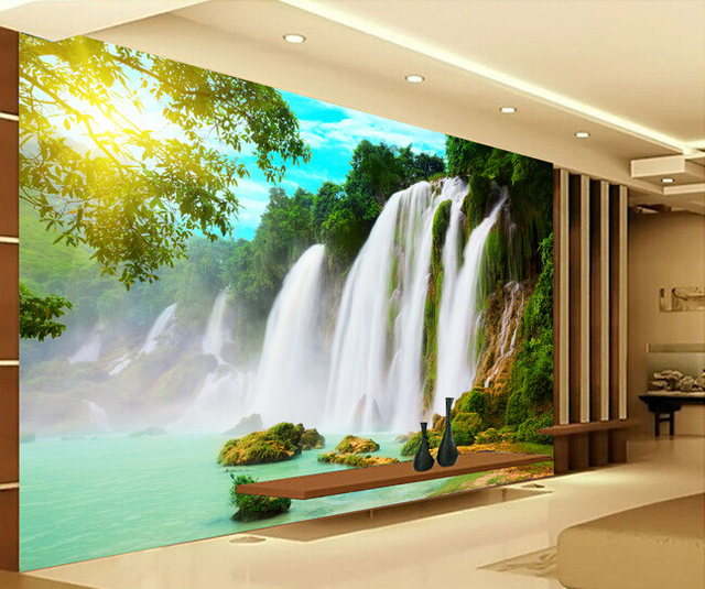 Custom Wallpaper Forest 3D River Waterfall For Living Room Bedroom TV Background Wall Waterproof