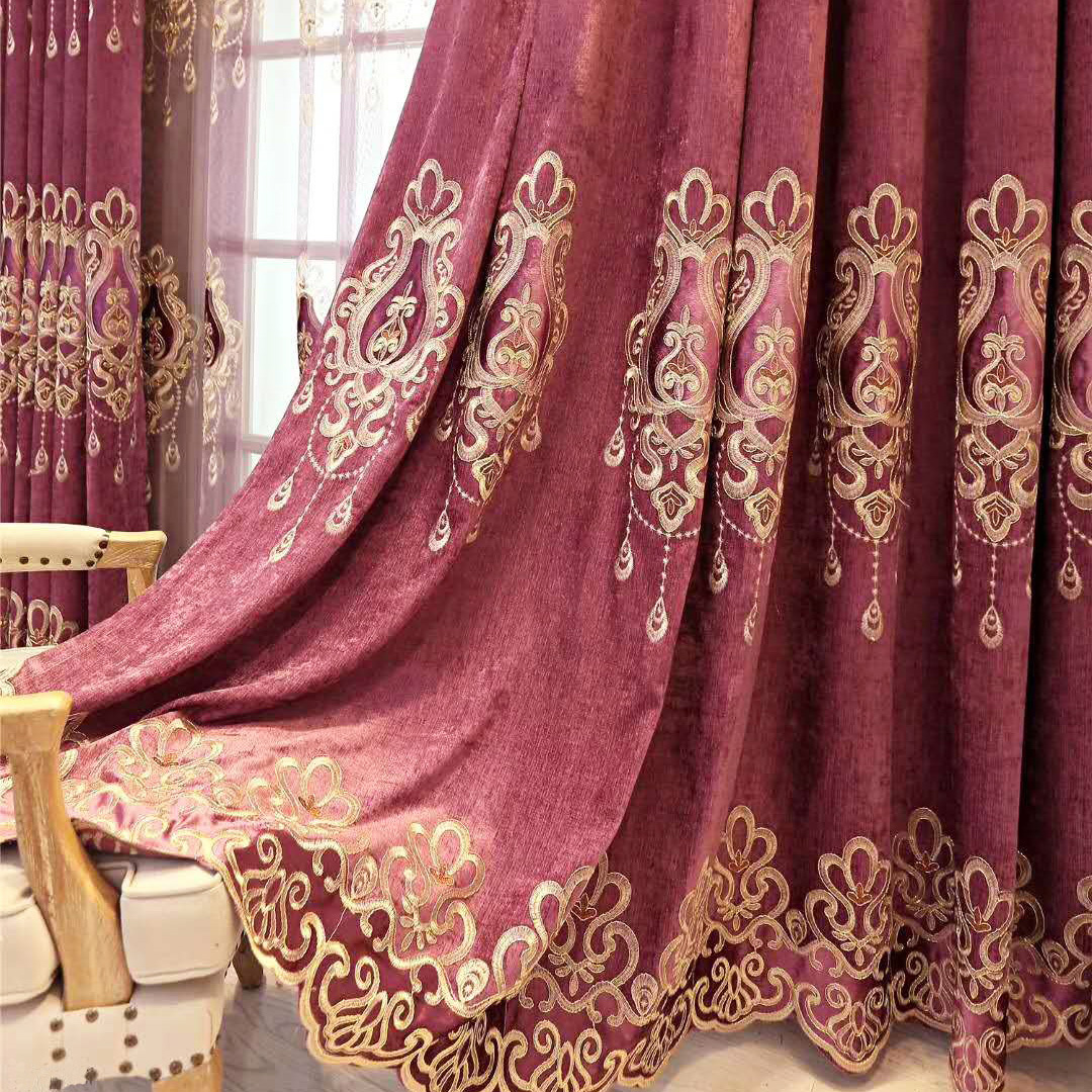 Slow Soul Raindrops Chenille Curtain Luxury Living Room Curtains Tulle Europe Embroidered Flannel For Bedroom Coffee Blue Purple