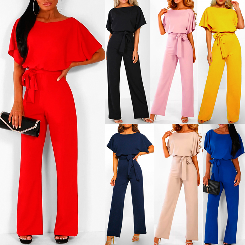 Women Short Sleeve Wide Leg Loose Solid Color Jumpsuit For Summer Cocktail Party H9