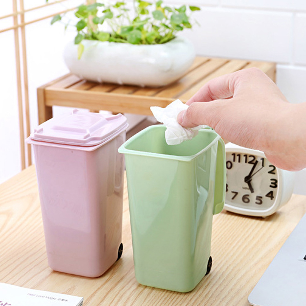 Plastic Waste Bin Desktop Garbage Basket Home Bathroom Office Table Trash Can