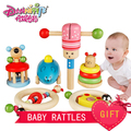 Danniqite  6pcs/set Baby Toys Animal Baby Rattles & Mobiles Infant Beech Wooden Learning Products Kids Gift
