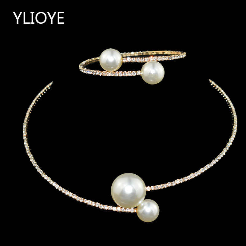 Fashion Simple Simulated Pearl Bridal Sets Crystal Wedding Jewelry Necklace Bangle Set for Women Wedding Party Jewelry