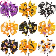 "36 Pcs/lot 3"" Boutique Small Cute Halloween Pinwheel Bows For Kids Girls Handmade Boutique Mini Hairpin Hair Accessories"