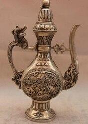 Chiny biały miedź srebrny smok kwiat czajniczek Flagon naczynie do wina w Posągi i rzeźby od Dom i ogród na