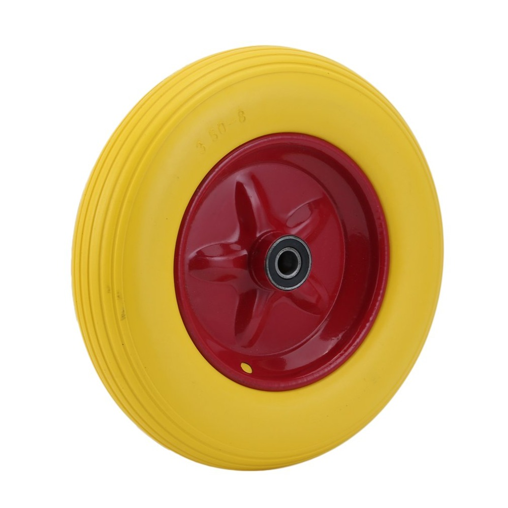 14 Inch Yellow Tyre Wear-Resistant PU Wheels for Carts Trailers Puncture Proof Solid Wheelbarrow Trolley Tyre Wheels 10 inch professional wear resistant pu wheels for carts trailers puncture proof solid wheelbarrow trolley tyre wheels