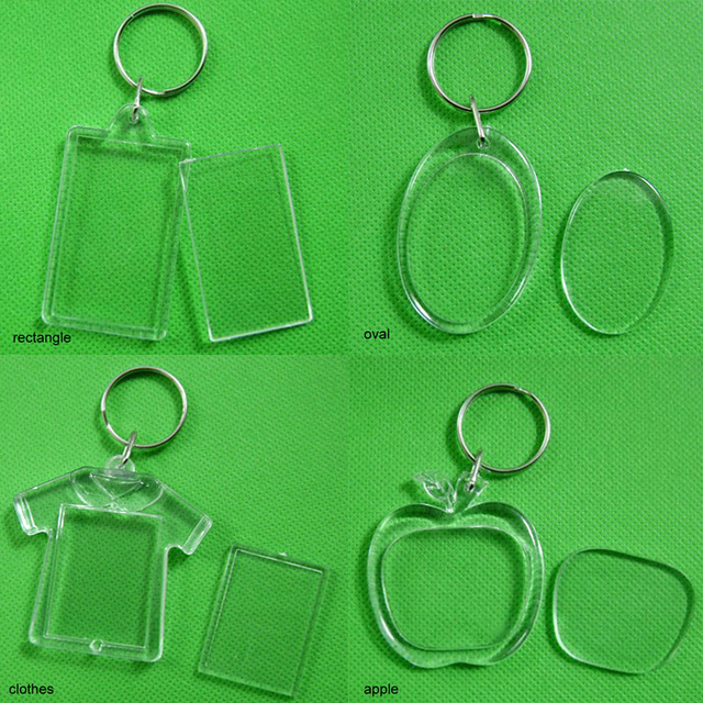 US $0 95 30% OFF|DIY Diamond Painting Mosaic Embroidery Key Ring Split  Rings Transparent Photo Picture Frame Plastic Keychain Cross Stitch Gift-in
