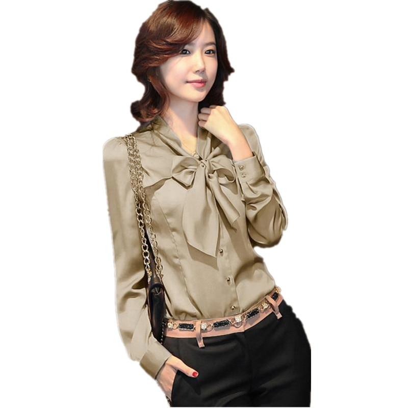 Fashion Women Shirt Ol Dress Faux Silk Top Sexy Blouse