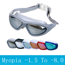 Adults Swimming goggles myopia Anti-Fog UV Sports eyewear Big frame water swim glasses myopic Waterproof