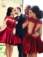 Short Homecoming Formal Dresses Long Sleeves Lace Appliques Round Neck Ruffles Mini Skirt Junior Graduation Dress Cocktail Gowns