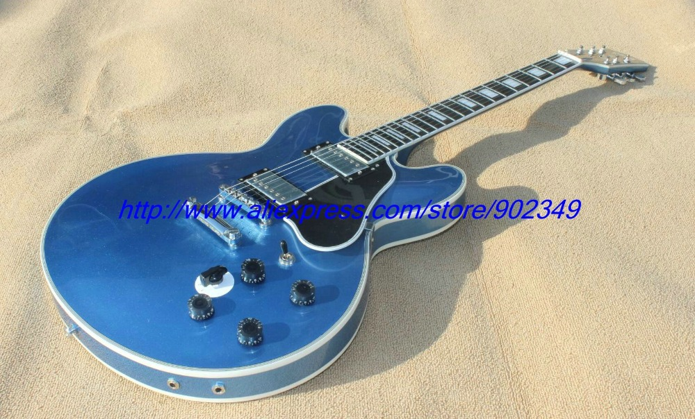 все цены на Special offer  Lucillc jazz hollow body no F hole metalic blue Electric Guitar Such as pictures chrome hardware+ black pickguard онлайн