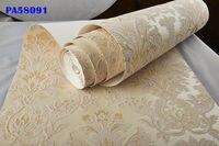 Italian Vintage Gold Beige Velvet Flocking Damask Wallpaper Roll Vintage Bedroom Decor