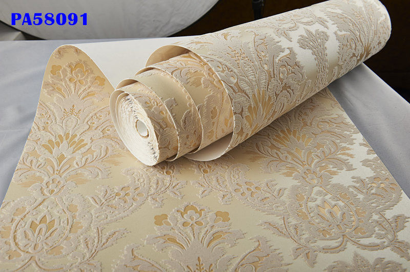 Italian Vintage Gold Beige Velvet Flocking Damask Wallpaper Roll Vintage Bedroom Decor купить недорого в Москве