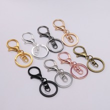 5pcs/lot Gold Silver Keychain Ring 30 mm Key Long 70 Lobster Clasp Hook Chain For Jewelry Making Findings Supplies