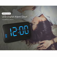 LED Alarm Clock Digital LED Display Voice Control Electric Snooze Night Backlight Desktop Table Clocks Watch USB Charging Cable(China)