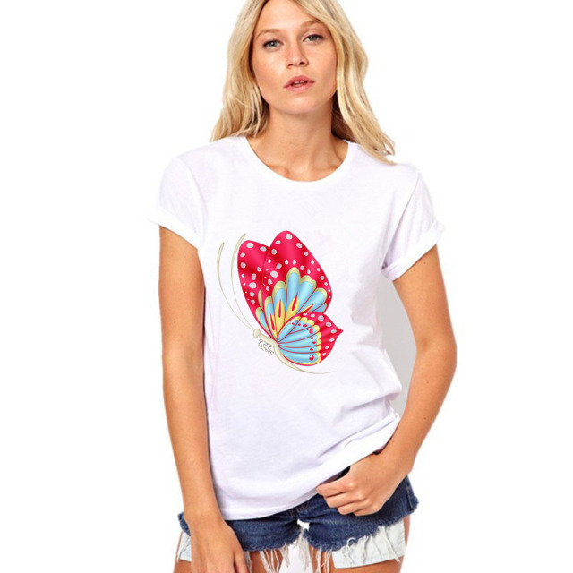 Summer 2017 Butterfly Printed Clothes T-shirts For Women Cotton Prints Short Sleeve O-Neck T-shirt 14 Colors Tops Shirt Tops