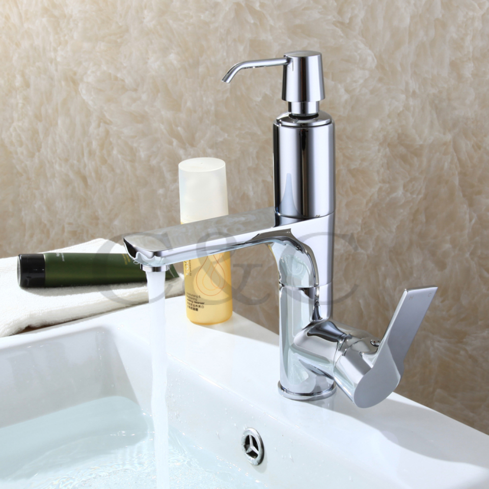 With Soap Liquid Device Bathroom Basin Mixer Faucet, Solid Brass ...