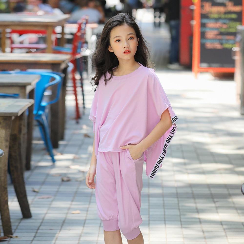 Enfants fille ensembles rue vêtements 2019 printemps été coréen manches chauve-souris grande taille chandail + pantalon deux pièces vêtement costume Costum