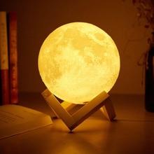 Foxanon светильник с сенсорным датчиком, прикроватная лампа, USB, 3D принт, Лунная лампа, светильник s, для спальни, романтические настольные лампы, 2/16 цветов, для домашнего декора