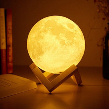 Foxanon — Lampe LED USB en forme de lune avec capteur tactile, impression 3D conforme, ambiance romantique, lumière changeante entre 2/16 couleurs, luminaire décoratif d'intérieur