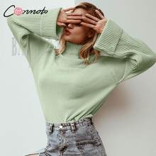 Conmoto Women Winter Sweater Fashion Turtleneck Jumpers 2019 Autumn Khaki Casual Knitted Bell Sleeves Oversized Pullovers Femme(China)